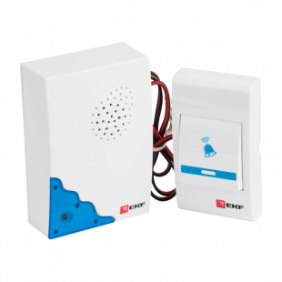 Звонок проводной на батарейках (бел.-голуб. 36 мелод. шнур 1.2м. с индик. 2х1,5В АА) EKF Basic