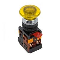 Кнопка AELA-22 желтая с подсветкой NO+NC 220В Грибок EKF PROxima