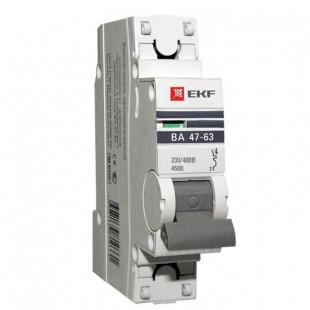 Автоматический выключатель 1P 25А (C) 4,5kA ВА 47-63 EKF PROxima