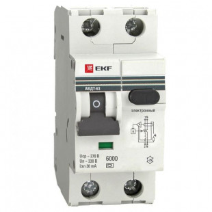 Дифференциальный автомат АВДТ-63 16А/ 30мА (хар-ка C, электронный тип A) 6кА EKF PROxima