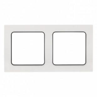 Стокгольм Рамка 2-местная белая с линией цвета черный EKF PROxima