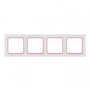 Стокгольм Рамка 4-местная белая с линией цвета красный EKF PROxima