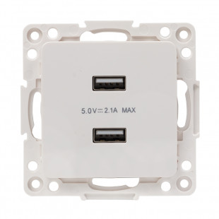 Стокгольм Механизм Розетки USB 2-местной 2,1А  белый  EKF PROxima
