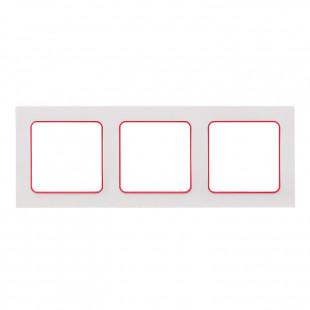 Стокгольм Рамка 3-местная белая с линией цвета красный EKF PROxima