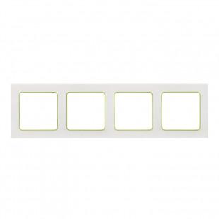 Стокгольм Рамка 4-местная белая с линией цвета зеленый EKF PROxima