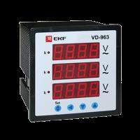 VD-963 Вольтметр цифровой на панель (96х96) трехфазный EKF PROxima