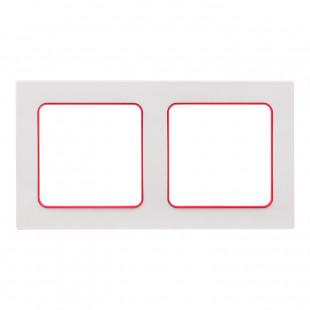 Стокгольм Рамка 2-местная белая с линией цвета красный EKF PROxima
