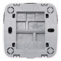 Минск Выключатель 1-клавишный ОП 10А с индикатором белый  EKF Basic