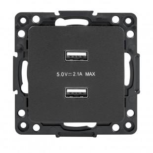 Стокгольм Механизм Розетки USB 2-местной 2,1А  черный  EKF PROxima